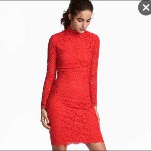 H&M Red Lace Open Back Dress Sz 10 NWOT